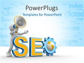 Audience pleasing presentation featuring 3D man pushing rendering of text SEO over blue background