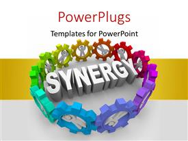 Colorful presentation theme having 3D men standing in gears surround rendered word SYNERGY