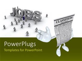 Elegant slides enhanced with 3D job seekers on white background with CLASSIFIEDSemployment character