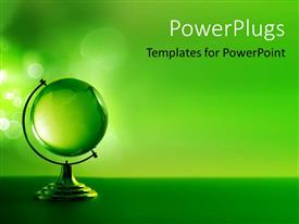 Elegant PPT theme enhanced with 3D model of green glass globe on green background