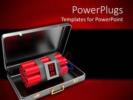 Presentation consisting of 3D open suitcase with dynamite bomb inside it on black and red background