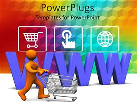 Theme featuring 3D orange figure driving a shopping cart with purple www letters in the back and three depictions of online shopping on rainbow squared pattern background