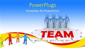 Presentation theme featuring 3D people holding hands and puzzle pieces spelling the word team with blue color