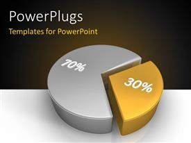 PPT theme featuring 3D pie chart representing shares as 30 and 70 percent with brown color