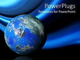 Presentation design consisting of 3D planet earth, globe on blue and black background