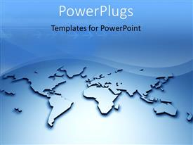 Beautiful PPT theme with 3D relief world map with arrows and waves in blue