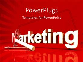 Elegant presentation theme enhanced with 3D rendered word MARKETING with hammer and silver spanner on red background