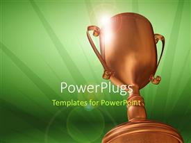 Beautiful presentation theme with 3D rendering of bronze trophy on green background