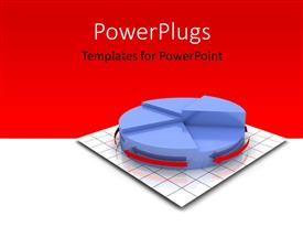 PPT theme enhanced with 3D rendering of pie chart on grid lines with red and white background