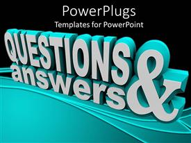 Presentation design consisting of 3D rendering of text QUESTIONS & ANSWER on black surface