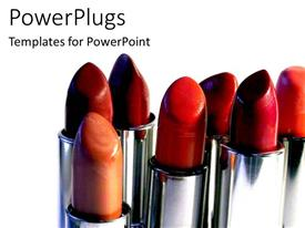 Audience pleasing slide set featuring 3D seven variously colored lipsticks uncapped, red brown orange peach lipstick