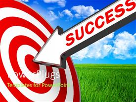Elegant PPT theme enhanced with 3D success arrow hits bulls eye of red and white target