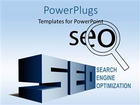 PPT layouts featuring 3D text SEO with magnifying glass over blue background