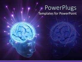 Amazing slide set consisting of 3D transparent head depicting glowing brain with sparkling energy balls splashing from the brain on a purple background