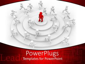 Colorful presentation design having 3D white figures climbing circular stairs to a red 3D figure standing atop of the stair, leadership related words on red background