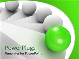 Colorful slide deck having 3D white stair steps and balls climbing up the stairs, leadership concept with green glowing ball leading four white balls up the stairs