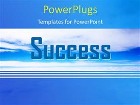 Presentation theme featuring 3D word SUCCESS over blue cloudy sky with blue edges