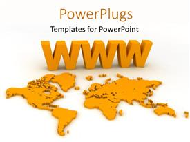 Amazing theme consisting of 3D world map colored yellow with World Wide Web symbol