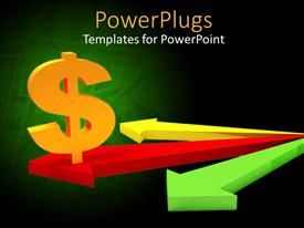 Beautiful presentation theme with 3D yellow dollar sign on red arrow between yellow and green arrows