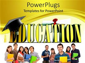 5000 higher education powerpoint templates w higher education amazing slide deck consisting of 3d yellow education word with graduation hat and diploma and students toneelgroepblik Images