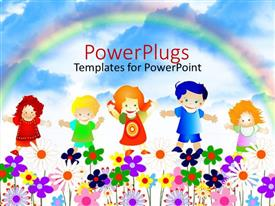 PPT layouts with 5 kids playing happily in a garden full of flowers with a rainbow in the background
