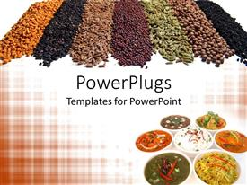 Colorful PPT theme having 7 different Indian spices and dishes arranged stylishly