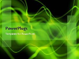 Amazing PPT theme consisting of abstract animated green waves on black background
