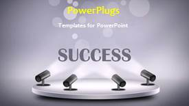 Amazing presentation theme consisting of abstract animated success background with four searchlights on grey platform - widescreen format