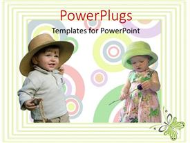 Elegant PPT layouts enhanced with abstract background of circles and green frame with two kids having fun