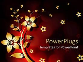 Beautiful PPT layouts with abstract background yellow white flower withe red and black background