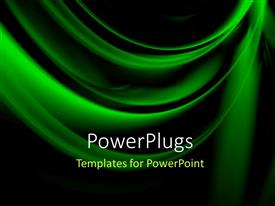 Presentation theme with abstract beautiful green folds over black background