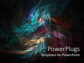 Presentation theme enhanced with abstract blend of colors, swirling colors combining on black background