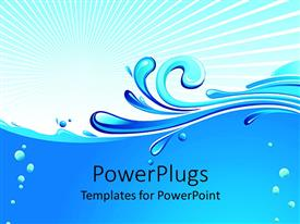 PPT theme consisting of abstract blue waves, water drops on pale background