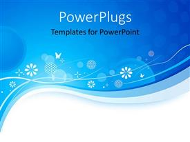 Theme enhanced with abstract blue waves with white flowers and butterflies
