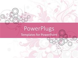 Colorful slide deck having abstract circles and floral design on white and pink background