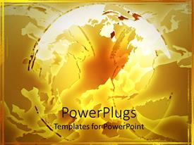 Audience pleasing presentation theme featuring abstract deconstructed globe on gold background