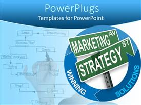 Elegant presentation theme enhanced with abstract depiction with arrow diagrams and words in blue background
