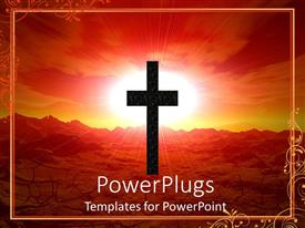 Beautiful PPT layouts with abstract depiction of a large cross with a shinning red background
