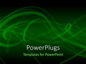 Elegant presentation design enhanced with abstract depiction withlight greensmokey lines on green background