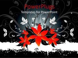Theme enhanced with abstract depiction of red and white floral design on black background
