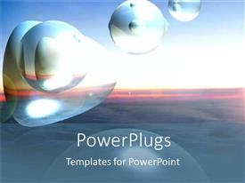 Colorful PPT layouts having an abstract depiction of shapeless bubbles on a sunset background