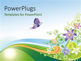 PPT theme enhanced with an abstract design of a colorful floral background with a purple butterfly