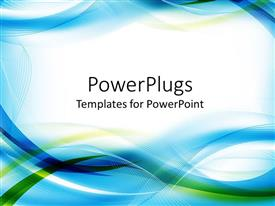 Colorful PPT theme having abstract design combining shades of blue and green in interchanging lines and waves