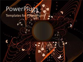 Colorful presentation theme having an abstract design of flowers and lines on a black background