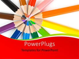 PPT layouts enhanced with an abstract design with a macro of multicolored pencils over white background