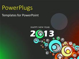 Colorful presentation theme having abstract design for new year 2013 with circles on grey surface