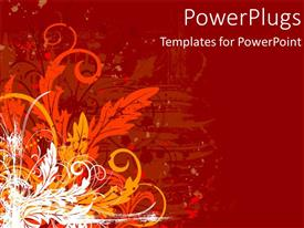 Amazing slides consisting of abstract floral design with artistic flowers and leaves on red background
