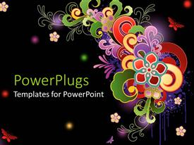 Presentation theme consisting of abstract floral pattern with various colored shapes and glowing colored spots on a black background
