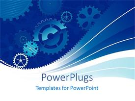 Presentation design having abstract gears rotation on a blue and white background