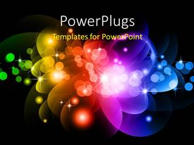 Amazing slides consisting of abstract Glowing Circles of light with Rainbow Colors Background
